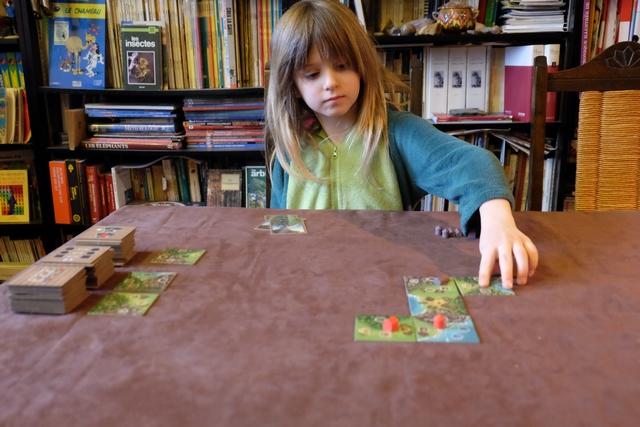 Joli début de partie, éminemment sympathique, avec Leila qui pose les pions couleur taupe tandis que je joue les rouges.