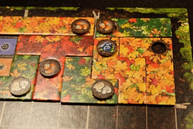 Je termine deux zones en même temps et vais récupérer 1 baie + 3 noisettes + 2 champignons. Les baies permettent de compléter à 5 (voire à 6 en en jouant une seconde) son sentier individuel. Les noisettes permettent de placer un écureuil. Les champignons permettent de jouer la première tuile du sentier individuel de l'autre joueur + celle du sentier commun. Enfin, les plumes permettent de poser deux tuiles à soi dans le même tour.