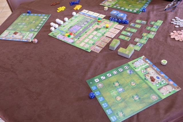 Nous jouons à 3, avec Fabrice (rouge) et Yohel (jaune), tandis que je joue les moines verts...