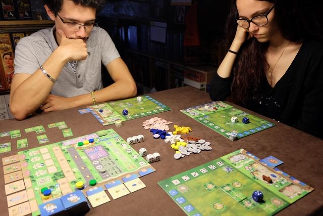 Nous jouons une nouvelle fois à 3 joueurs, avec Joris (pions jaunes), Maitena (pions bleus) et moi (pions verts).