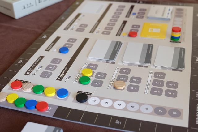 La partie se jouera en 8 tours, lors de chacun desquels on va placer nos disques colorés (les jaunes pour Odile, les bleus pour Joris, les rouges pour Maitena, les naturels pour Fabrice et les verts pour moi). Ci-dessus, chacun en a déjà positionné un, en partant de la case la plus à gauche des pistes.