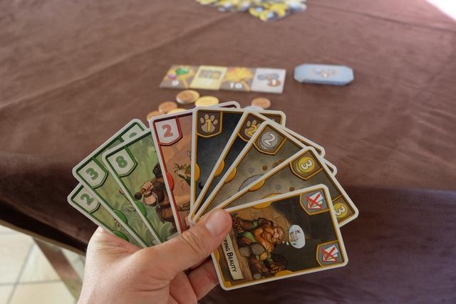 Voici ma main de cartes pour la troisième manche... J'ai gardé plein de vertes pour scorer des PV par carte verte grâce au parchemin jaune qui se trouve sur la zone verte...