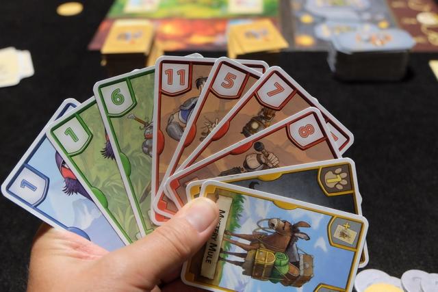Ma main après le draft de la deuxième manche. Là, je couine : Leila m'a donné la carte verte de valeur 6 tout à la fin, sans que je puisse m'en prémunir, m'empêchant de facto d'espérer avoir le plus petit total sur les vertes ! Je crois qu'une variante s'impose (voir plus bas)...