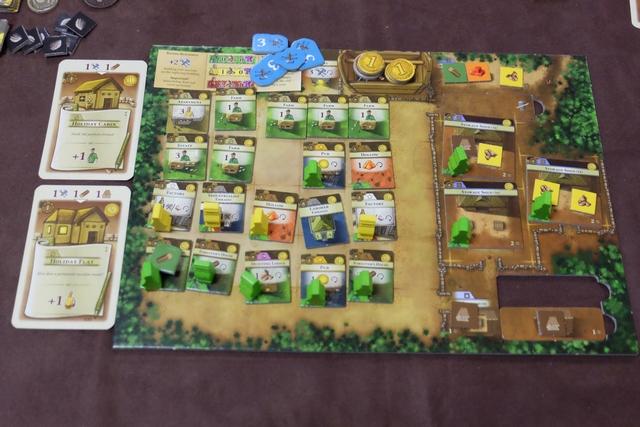 Les éléments de Fabrice une fois la partie terminée (avant la phase de nourriture des citadins), avec 4 citadins au travail et une seule case de libre dans son domaine...