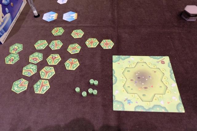 """Chaque joueur dispose d'un plateau individuel, différent en fonction du type d'animal dont on s'occupe (les chats pour moi), avec une zone de 7 espaces pour placer des hexagones de chemins, parmi les 16 que chaque joueur pour chaque partie. Je les ai classés, à gauche, et ai aidé Leila à faire de même, afin de rapidement trouver la tuile qui pourra convenir, en fonction du nombre de """"sorties"""" de chemins sur celle-ci."""