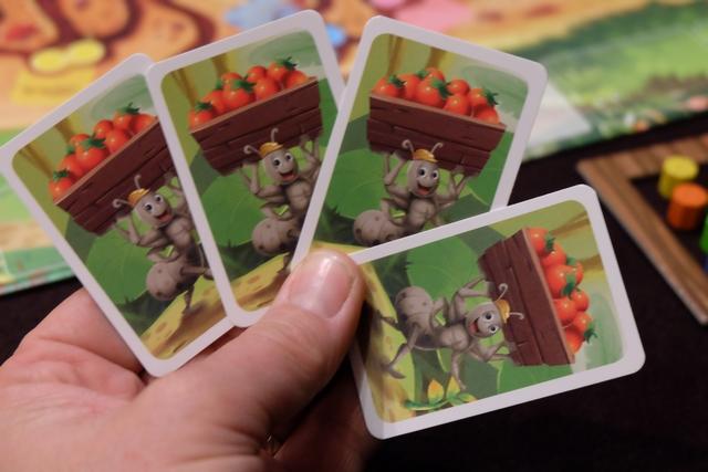 Ah ben, voilà, voilà, ça c'est de la main de cartes !!! Je ne pourrai déplacer que la fourmi grise pour livrer des cylindres verts, à condition d'en avoir dans mon petit compartiment... Et je n'ai pas de possibilité pour échanger de cylindres entre les deux compartiments... :-(