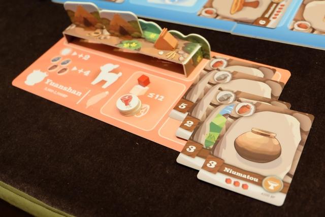 Les éléments de Leila, laquelle a construit 2 huttes + 4 cartes d'objectifs, largement bonifiées ! Bravo mademoiselle...