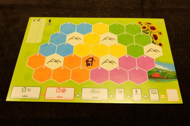 En début de partie, chaque joueur dessine une maison de départ sur l'une des cases de son plateau (déterminée par la règle). On coche aussi deux villageois (chaque maison en accueille 2). On voit que chaque plateau est composé de 5 fois 5 cases d'une même couleur + 5 cases montagnes. L'idée sera de placer des éléments proposés par des dés sur des cases qui les feront marquer un maximum...