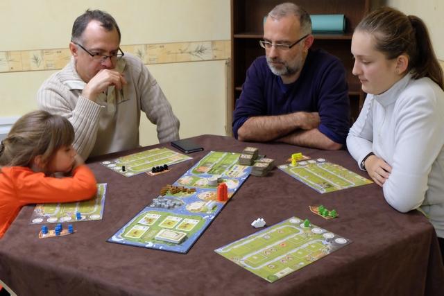 Leila joue les meeples bleus, Fabrice les noirs, Lila (et Yohel) les jaunes, tandis que je joue les verts. Le hasard m'a désigné comme premier joueur...
