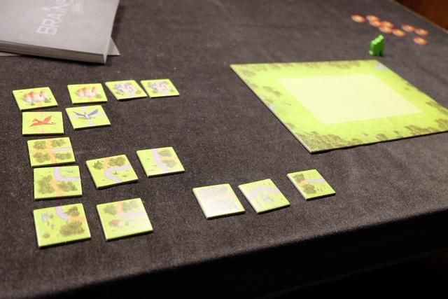 Chaque joueur dispose d'une quinzaine de tuiles qu'il a intérêt à classer par types avant de commencer. Ensuite, un puzzle va être pioché et positionné au centre de la table, afin que nous le résolvions simultanément.
