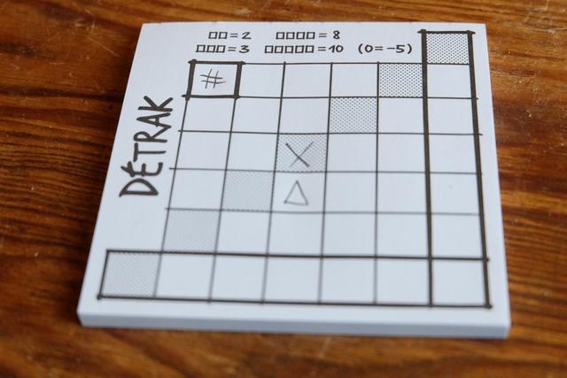 Je décide de placer les deux symboles obtenus comme ci-dessus. Vous pouvez voir le système de score indiqué en haut de la grille : 2 PV pour deux symboles identiques adjacents, 3 PV pour trois, mais 8 PV pour quatre et 10 PV pour cinq ! Attention, si aucun PV devait être marqué sur une ligne ou colonne, on encaisserait un cinglant -5 PV... A noter, enfin, que la diagonale grisée sera comptée deux fois.