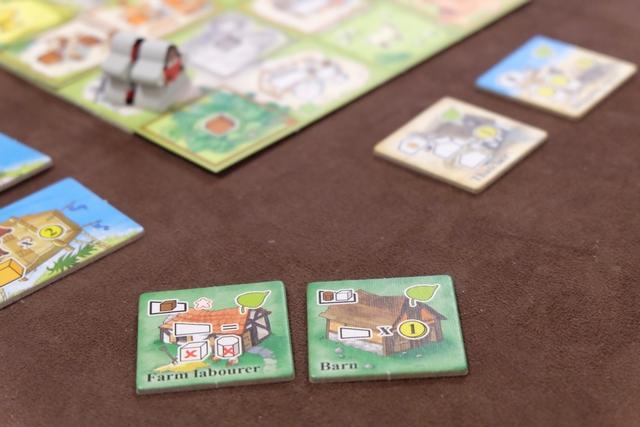 A son premier tour, Fabrice décide de placer un ouvrier gris sur une case de paysage qui permet de collecter une tuile à construire. Première bonne idée du jeu : le joueur suivant peut le suivre s'il le souhaite, pour renforcer son action et en profiter autant que lui ! J'y vais : je place donc un ouvrier de la même couleur (donc gris) à côté de son pion et on va pouvoir prendre deux tuiles chacun : la première et la quatrième pour Fabrice, la deuxième et la troisième pour moi. Ci-dessus, voici mes deux tuiles choisies, après qu'il a pris celle que je me voyais bien essayer : le blé à outrance ! Du coup, je vais y aller à fond sur les tuiles de ferme et on verra bien...