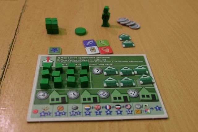 """Chaque joueur dispose d'un mini-plateau individuel sur lequel on stocke les éléments qu'on va pouvoir acheter pour les construire par la suite : des cubes d'assistants (gratuits), des magasins (coût de 2 Yen) et des maisons de commerce (coût de 4 à 7 Yen). Une fois achetés, ils sont placés au-dessus du plateau : ils deviennent disponibles. Au début de la partie, on a déjà quelques éléments comme vous pouvez le voir... Il y a 4 types de marchandises dans le jeu : du cuivre (rouge), de la soie sauvage (blanc), du thé (vert) et du poisson (bleu), sans compter une cinquième marchandise non désignée autrement que par """"marchandise importée"""". Le personnage, visible en haut, sert à parcourir les lieux de la zone commune. A noter que, tout en bas du mini-plateau, figure un résumé des PV qu'on devra calculer en fin de partie."""