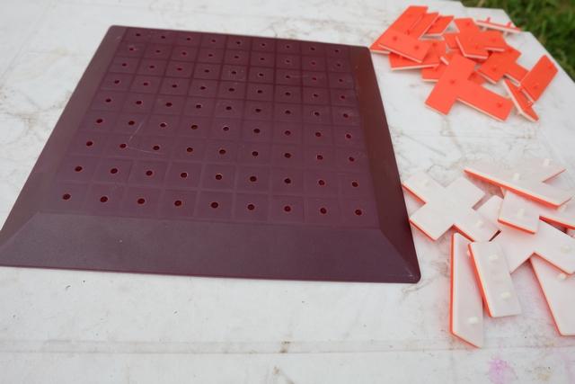 Leila a évidemment choisi la couleur orange tandis que j'ai pris la blanche, du coup. On a chacun les mêmes pièces bifaces. Il faudra en placer un maximum sur le plateau vide au départ. Je vous refais la règle ?