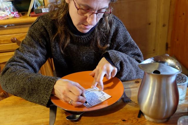 Julie ne sait pas très bien compter, comme son erreur dans la dernière colonne le prouvera, m'obligeant à refaire la photo suivante... ;-)