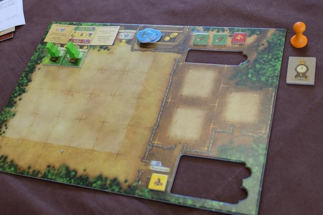 Je démarre avec les classiques deux fermiers de base + 1 nourriture et j'opte pour les trois jetons de ressources suivants : 2 bois + 1 argile. Je suis premier joueur et je le resterai jusqu'au bout de la partie d'ailleurs...